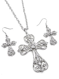 Beautiful Rhinestone Cross and pierced earring gift set